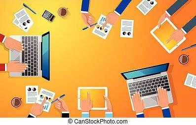 caffè, appartamento, tavoletta, ufficio affari, tazza, mano, tavola., vettore, persone, illustrazione, oggetti, vario, carte, disegno digital, smartphone, posto lavoro