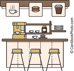 caffè, arte, casa, vettore, interno, linea