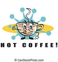caffè, arte, clip, segno, bevanda calda