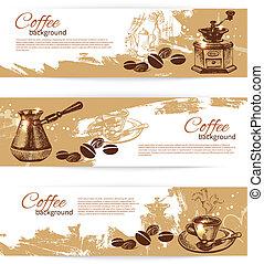 caffè, bandiera, ristorante, caffè, set, menu, caffè, backgrounds., vendemmia, sbarra