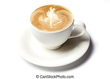 caffè, barista, tazza, sopra, isolato, bianco