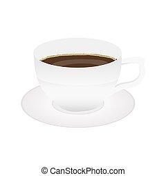 caffè, bianco, isolato, tazza