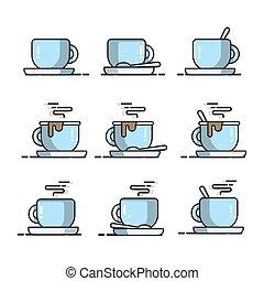 caffè, blu, cucchiaio, set, campanelle