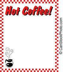 caffè, bordo, cornice, fondo