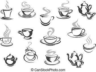 caffè, caffè, icone, cafeteria, tazze, vettore, tè, campanelle