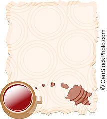 caffè, carta, vecchio, tazza