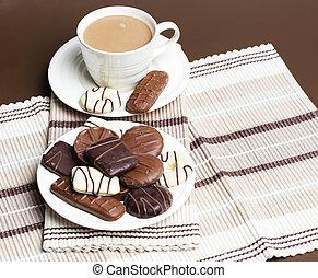 caffè, chocolete, biscotti, tazza