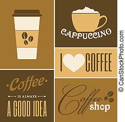 caffè, collezione, retro