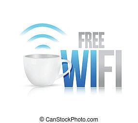 caffè, concetto, wifi, illustrazione, tazza, disegno, libero