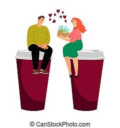 caffè, coppia, datazione