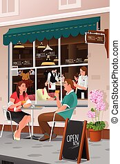 caffè esterno, caffè bevente, coppia