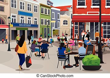 caffè esterno, seduta, persone
