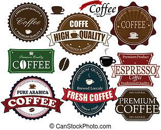 caffè, etichette, set