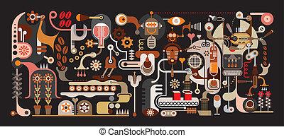 caffè, fabbrica, illustrazione, vettore