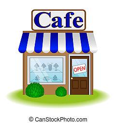 caffè, facciata, icona, vettore