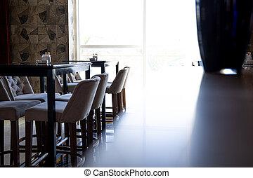 caffè, finestra, space., luce, copia, interno, confortevole