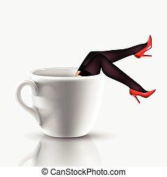 caffè, gambe, tazza