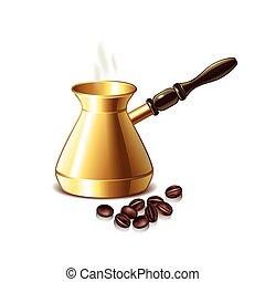 caffè, grani, vaso, isolato, vettore, retro