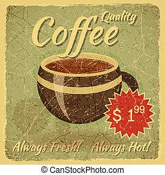 caffè, grunge, scheda, tazza