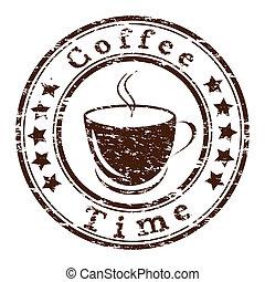caffè, grunge, tazza, francobollo, vettore, tempo