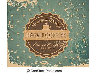 caffè, grunge, vendemmia, etichetta, vettore, retro, fondo
