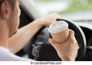 caffè, guida, automobile, mentre, bere, uomo