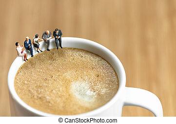 caffè, interruzione affari, miniatura, squadra, detenere
