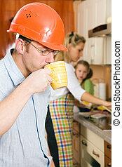 caffè, lavoro, cominciando, digiuno, prima