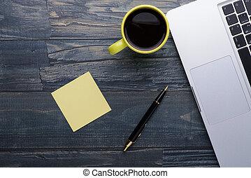 caffè, legno, laptop, penna, tavola, note