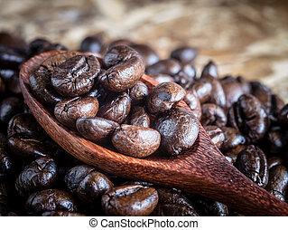 caffè, legno, vendemmia, effetto, filtro, cucchiaio, stile, fagioli, retro