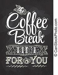 caffè, manifesto, rottura, iscrizione