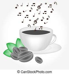 caffè, musicale, fumo, tazza