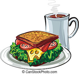 caffè, panino