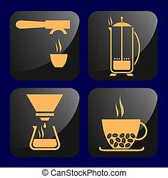 caffè, relativo, icone