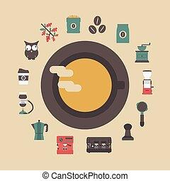 caffè, retro, icona