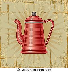 caffè, retro, vaso