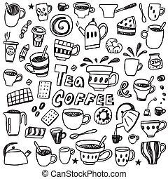 caffè, -, set, tè, campanelle, doodles