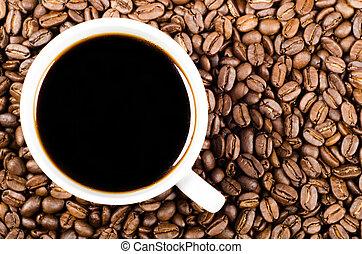 caffè, spazio, filtro, fagioli, nero, copia