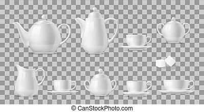 caffè tè, campanelle, set, realistico, otri