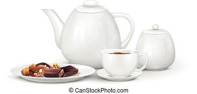 caffè, tè, composizione, set