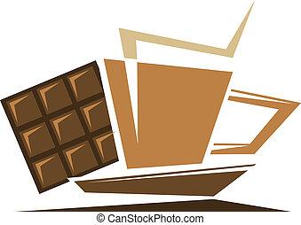 caffè tè, o, simbolo, cioccolato