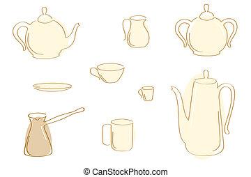 caffè tè, pots.
