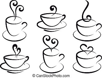 caffè tè, vettore, campanelle