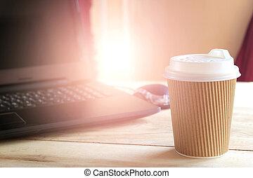 caffè, ufficio, scoppio, luce, laptop, tazza, computer, scrivania
