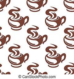 caffè, vaporizzazione, modello, seamless, retro, campanelle