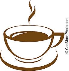 caffè, vettore, icona, tazza