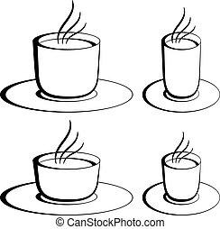 caffè, vettore, occhiali