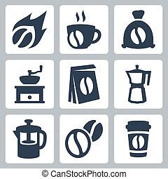 caffè, vettore, set, isolato, icone