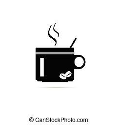 caffè, vettore, silhouette, tazza