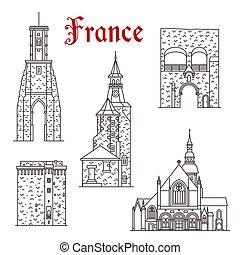 calais, punto di riferimento, dinan, francese, viaggiare, icona